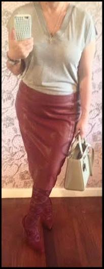 Check blazer & leather pencil skirt