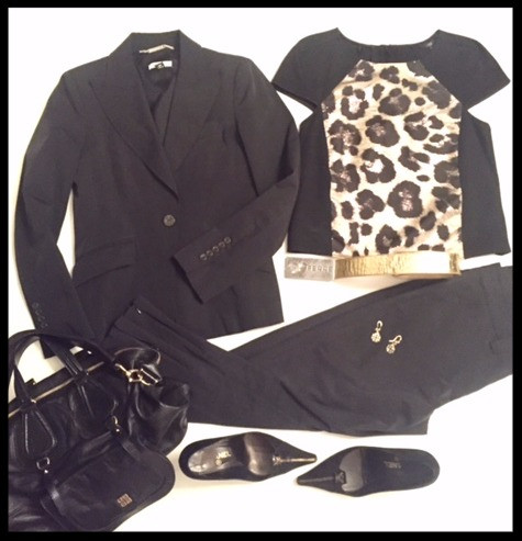 Black suit & Leopard
