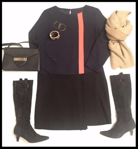 Color blocking dress - Blue/Black/Red