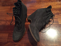 Grey leather booties