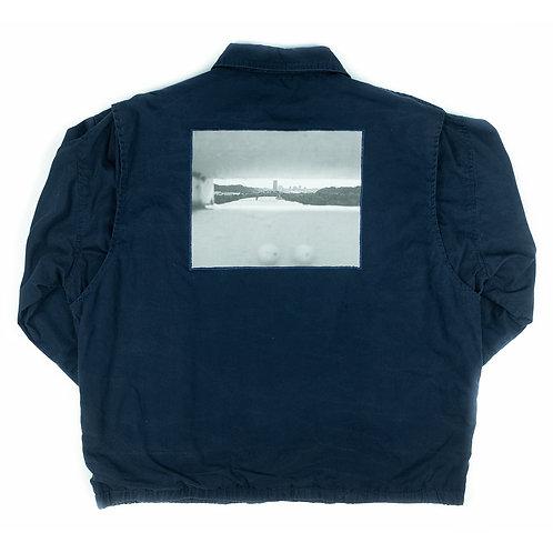 '40th St. Bridge' on navy jacket - S