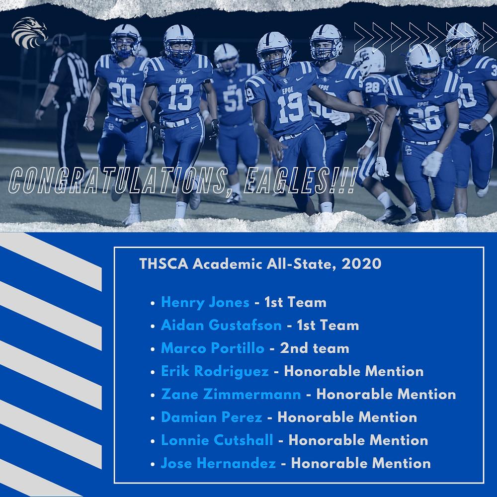 Cedar Creek High School Eagles Football TSHCA Academic All-State Honorees