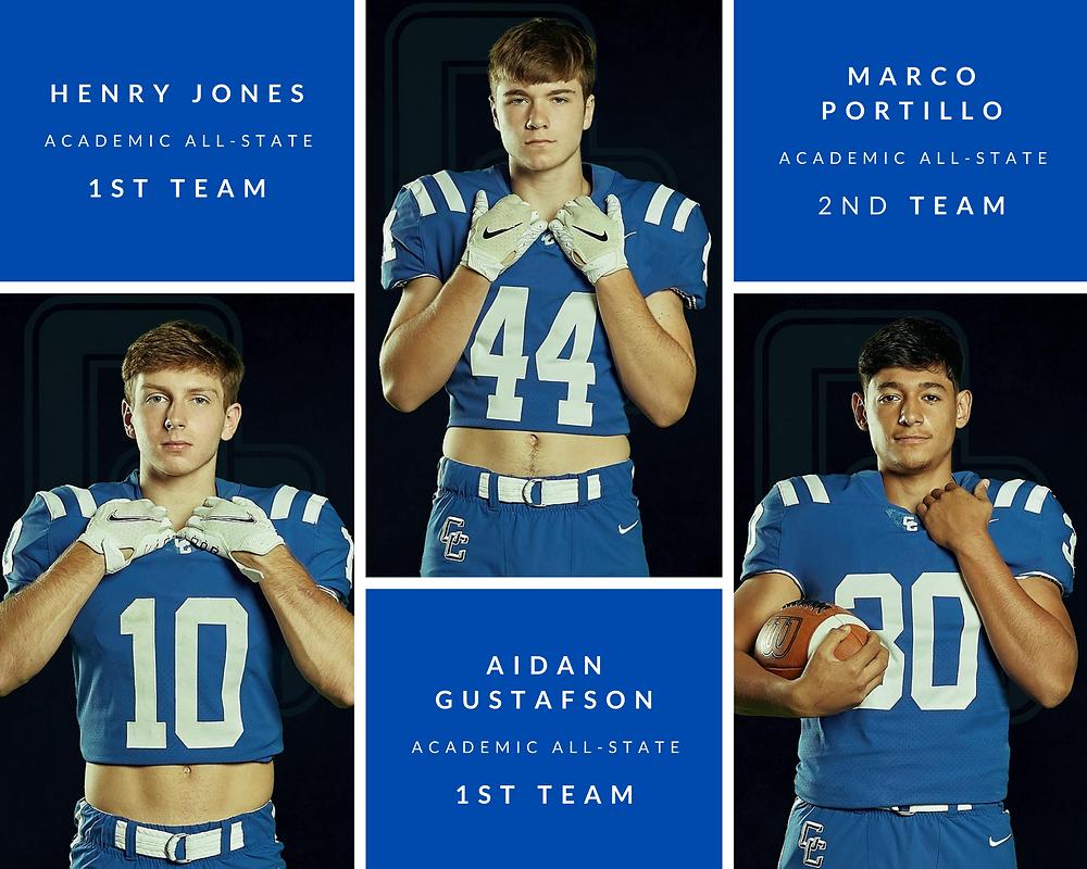 Cedar Creek High School Eagles Football TSHCA Academic All-State Honorees: Henry Jones, Aidan Gustafson, and Marco Portillo