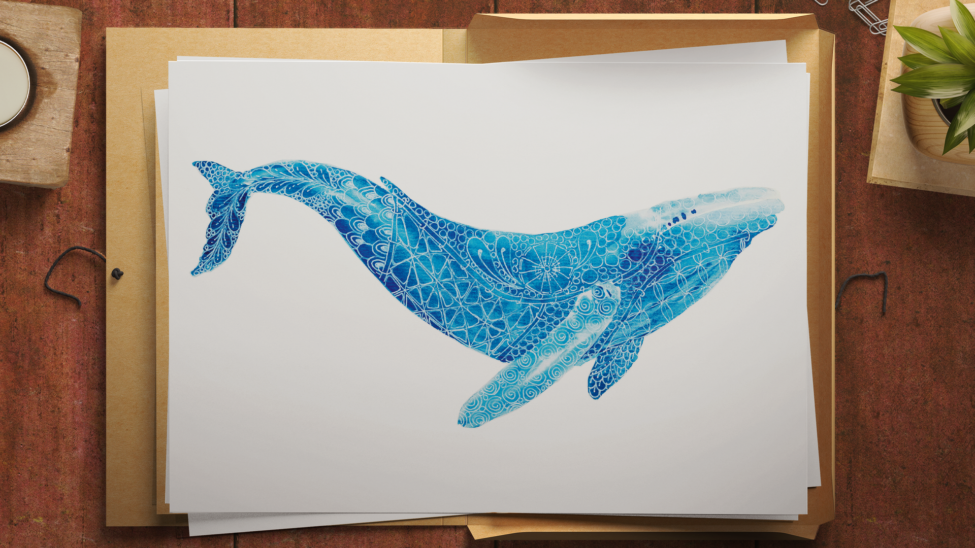Limited Edition Humpback Whale Print. Watercolour & gel pen original by Janet Nikora
