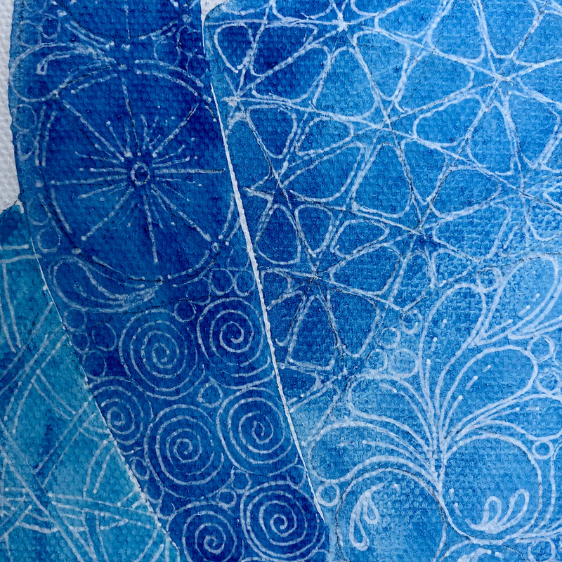 Watercolour and ink detail