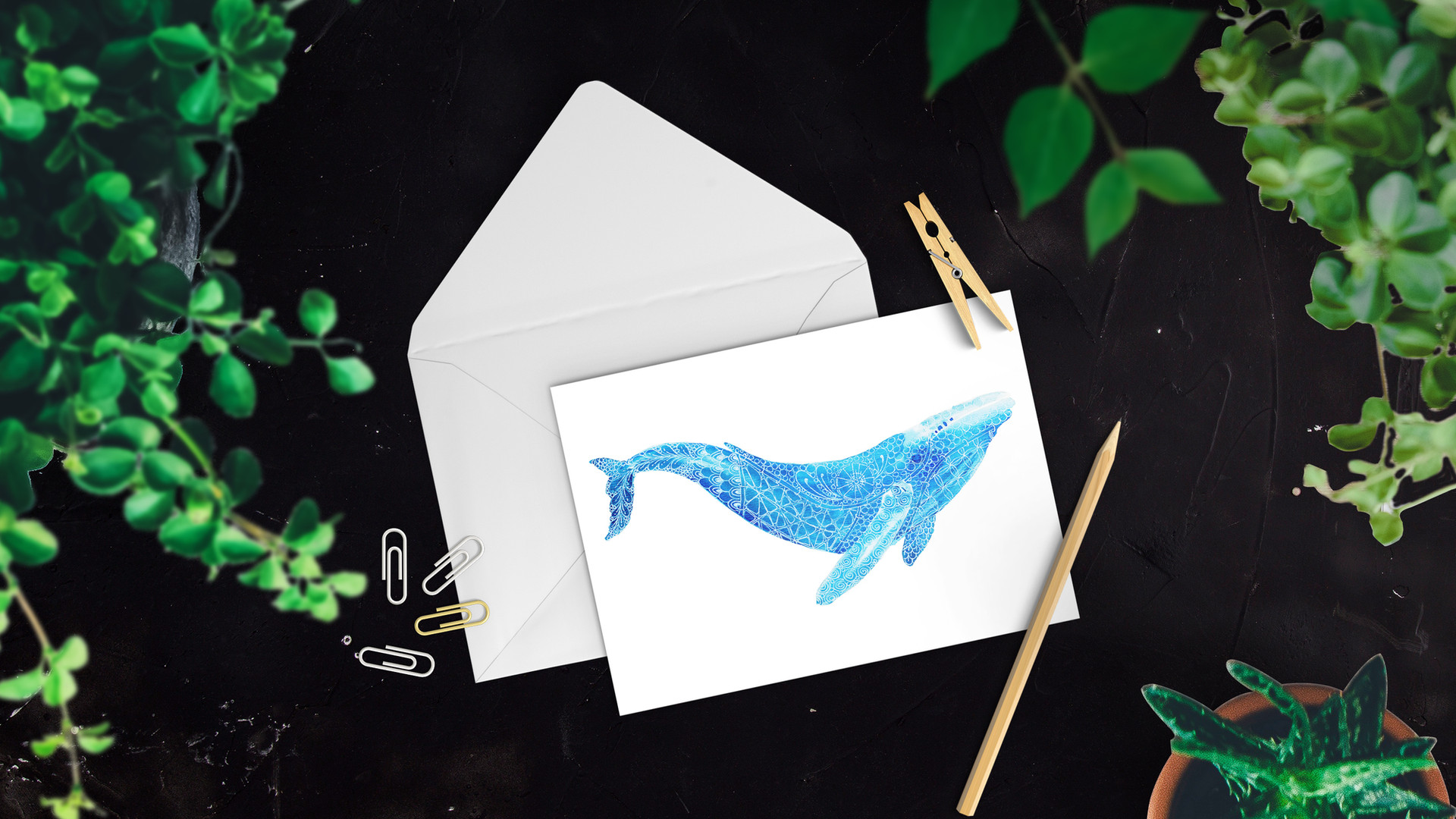Limited Edition Whale card. Watercolour & gel pen original by Janet Nikora