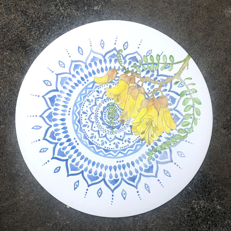 Acrylic wash and ink on canvas. Mounted on ply, sealed & ready to hang. 51cm wide $120 Available from Hand Made Kaikoura