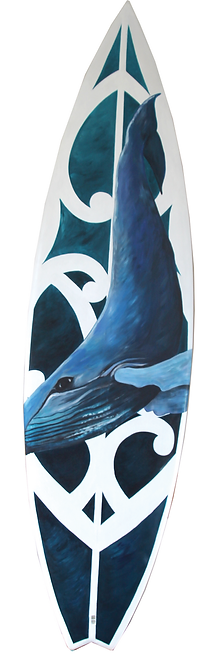 Humpback Whale Surfboard by Janet Nikora