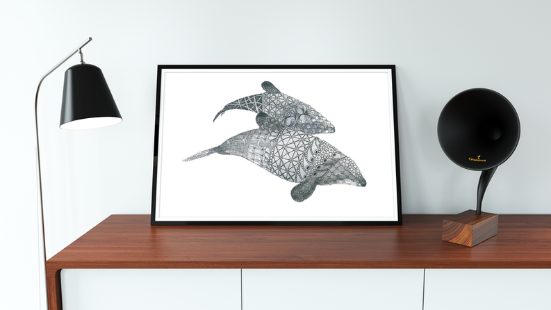 Limited Edition Hectors Dolphin Print. Watercolour & gel pen original by Janet Nikora
