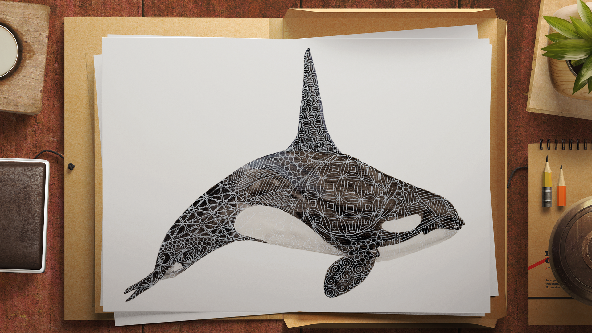 Limited Edition Orca Print. Watercolour & gel pen original by Janet Nikora