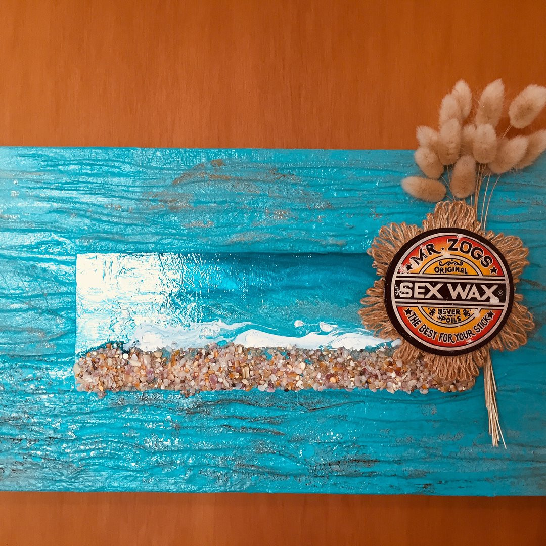 Acrylic resin, jute & sand with transfer