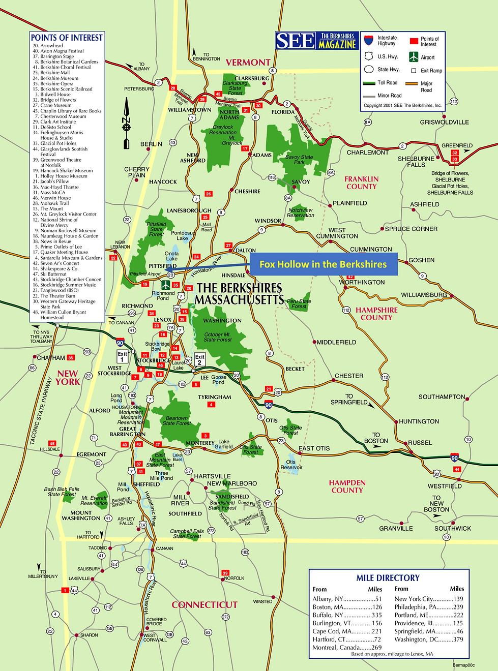 Vacation Rental, Pittsfield, MA, Fox Hollow, Berkshire County, Map, Things to do, favorites,