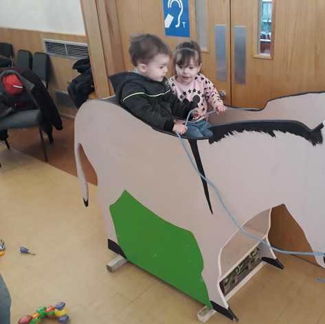 Mary and Joseph on their donkey!
