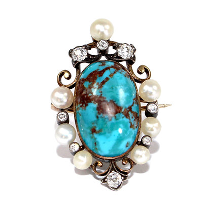 Art Nouveau Turquoise Brooch