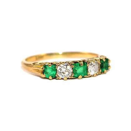 Victorian Emerald & Diamond Carved Half Hoop Ring