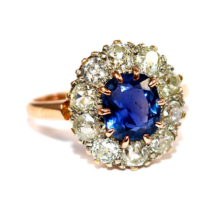Edwardian Sapphire Diamond Cluster Ring