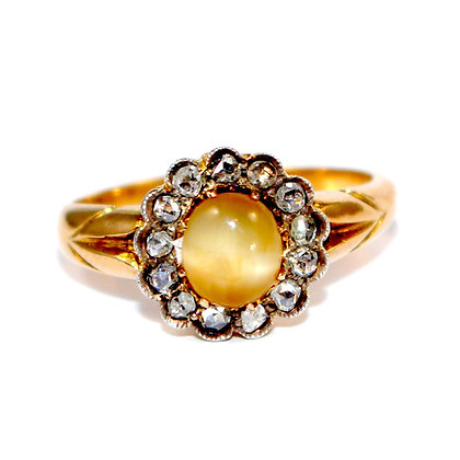 Victorian Cats Eye Cluster Ring