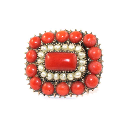 Georgian Coral and Pearl Brooch c.1800