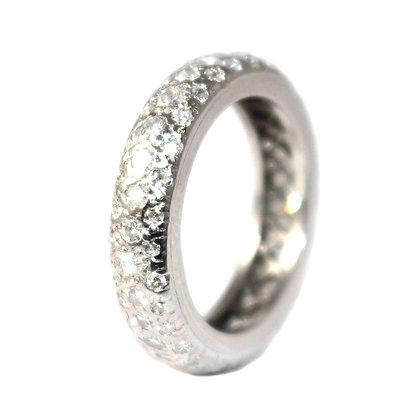 Art Deco Bombe Diamond Eternity Ring c.1940 Size J