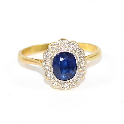 Edwardian Oval Sapphire & Diamond Cluster Ring c.1915