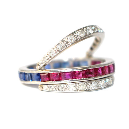 Art Deco Sapphire, Ruby and Diamond Flip Eternity Ring c. 1935 size N