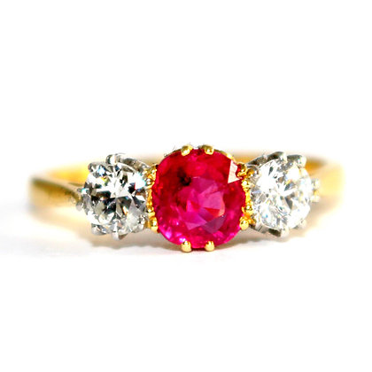 Edwardian Ruby & Diamond 3 Stone Ring