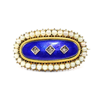 Georgian Oval Pearl and Diamond Enamel Brooch c.1810