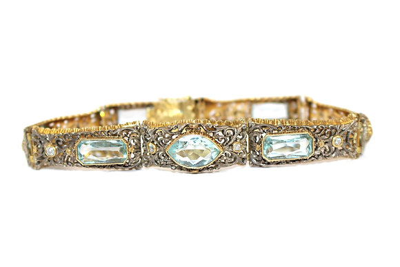 Art Deco Aquamarine and Diamond Bracelet