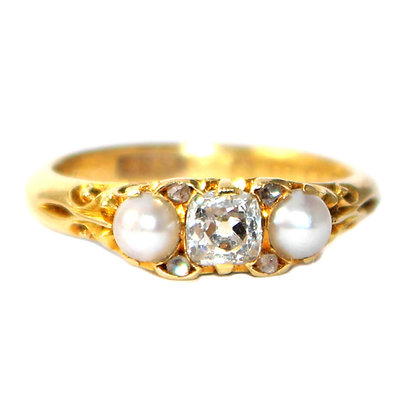 Victorian Diamond and Pearl Ring