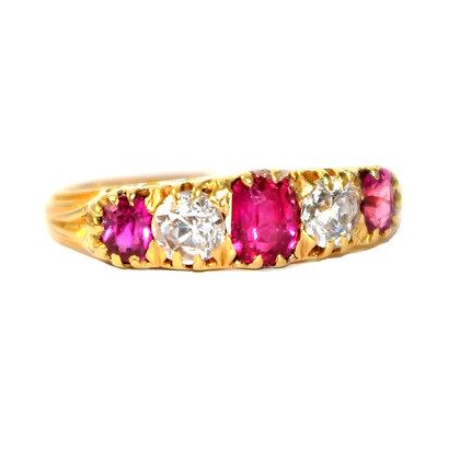 Edwardian Ruby and Diamond 5 Stone Ring