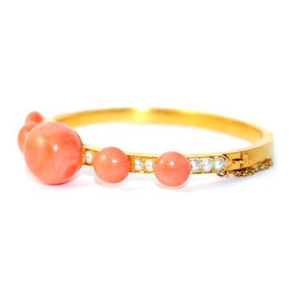 Victorian Coral and Pearl Bangle