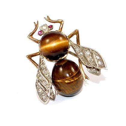 Victorian Tigers Eye Bee Brooch