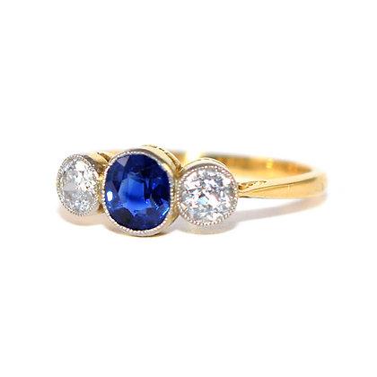 Edwardian Sapphire & Diamond 3 Stone Ring