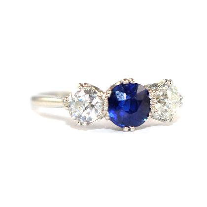 Art Deco Sapphire Diamond 3 Stone Ring