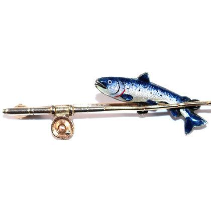 Edwardian Enamel Fishing Rod Brooch