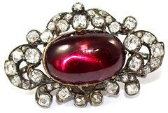 Victorian-Cabochon-Garnet-Diamond-Brooch
