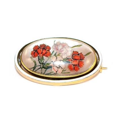 Edwardian Carnations Reverse Intaglio Crystal Brooch