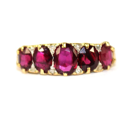 Victorian Ruby 5 Stone Carved Half Hoop Ring