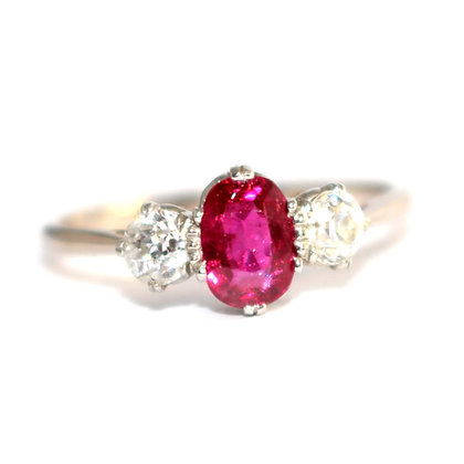 Art Deco Ruby & Diamond 3 Stone Ring