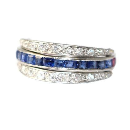 Art Deco Sapphire, Ruby and Diamond Flip Eternity Ring c. 1935 size N