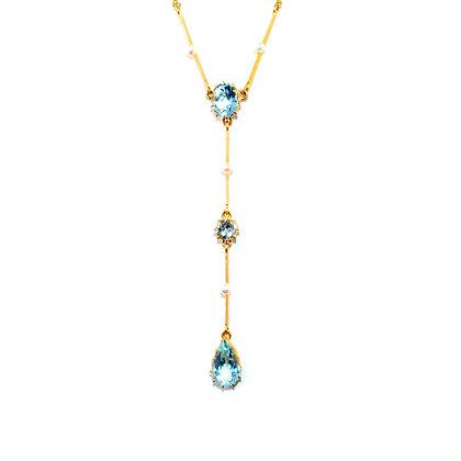 Edwardian Aquamarine and Pearl Necklace c.1915