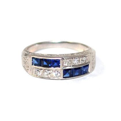 Art Deco Sapphire Diamond Band Ring c.1930