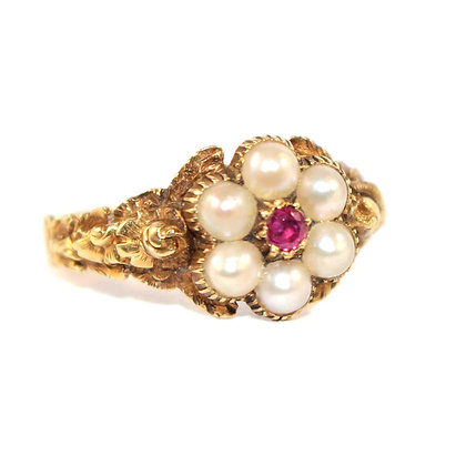 Georgian Ruby Flower Ring c.1810