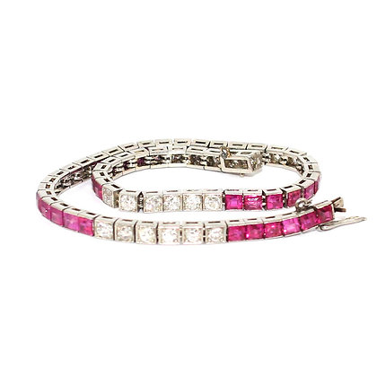 Art Deco Ruby and Diamond Line Bracelet