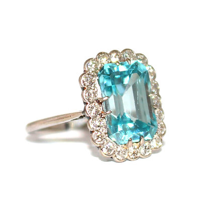 Art Deco Blue Zircon Ring