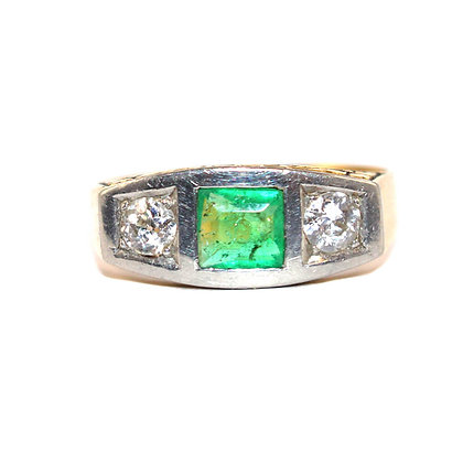 Art Deco Square Emerald and Diamond 3 Stone Ring C.1930