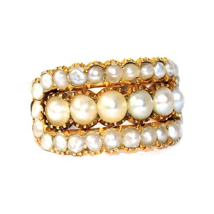 Georgian 3 Row Pearl Ring c.1790