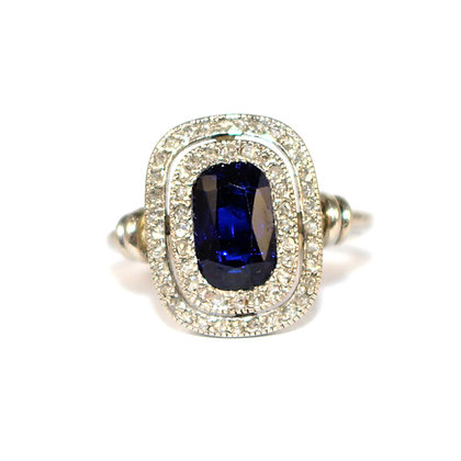 Art Deco Sapphire Double Cluster Ring c.1930
