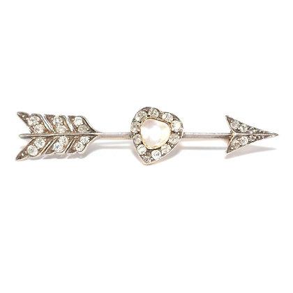 Victorian Pearl and Diamond Arrow Brooch
