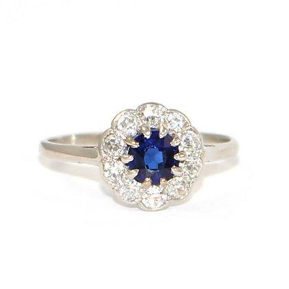 Art Deco Sapphire & Diamond Daisy Cluster Ring